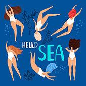 Sea swimming women