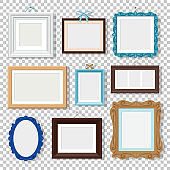Classic photo frames on transparent