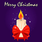 Christmas card with candle and red bow