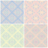 Set of faded colored seamless backgrounds with geometric patterns