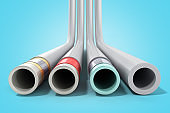 different plastic water pipes in layers 3d render on blue