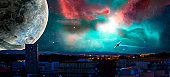 Sci-fi city with nebula, planet and spaceships, photo manipulation https://nasa3d.arc.nasa.gov/detail/plu1rss1