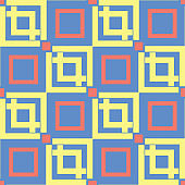 Geometric seamless pattern. Blue background with red and yellow design