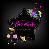 Holiday's Background for Merry Christmas greeting card with a realistic colorful objects, decorated with Christmas balls, gold stars, snowflakes, curling party ribbons