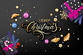 Holiday's Background for Merry Christmas greeting card with a realistic colorful objects, decorated with Christmas balls, gold stars, snowflakes, curling party ribbons and gift box
