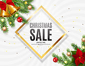 Christmas and New Year Sale Background, Discount Coupon Template. Vector Illustration