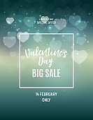 Valentine s Day Love and Feelings Sale Background Design. Vector illustration