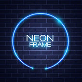 Abstract Neon Frame Template on Brick Wall Texture Background Vector Illustration