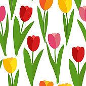 Spring Tulip Flowers Seamless Pattern Background Vector Illustration