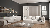 Scandinavian modern living room with kitchen, dining table, sofa and rug with pillows, minimalist white and gray architecture interior design