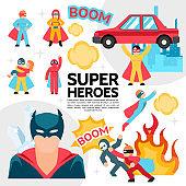Flat Superheroes Template