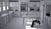 Unfinished project draft of scandinavian classic kitchen with dining table and chairs, windows and morning light, vintage cooker and pendant lamps, minimalist interior design sketch