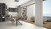 Modern kitchen with dining table and chairs, big panoramic window with terrace