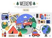 Flat Weekend Elements Set