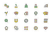 Set of vector gambling and casino colored line icons. Dice, horseshoe, clover, roulette, jackpot slot machine, lottery bingo, game cards, croupier, fortune wheel and more.