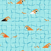 People swim in the swimming pool seamless pattern.