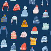 Christmas greeting card with knitted hats.