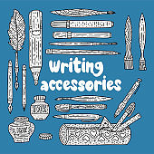 Writting accessories vector set. Doodle drawing supplies.