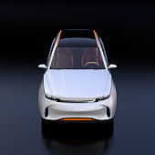 Front view of white Electric SUV concept car isolated on black background