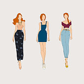 Hand drawn fashion models. Vector illustration concept.