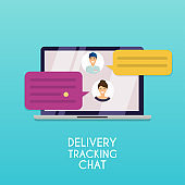 Delivery tracking chat. Computer with text message. Flat design modern vector illustration concept.