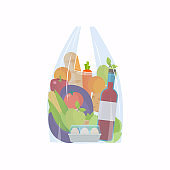 Cellophane bag with foods. Healthy organic fresh and natural food. Grocery delivery concept. Flat vector icon.