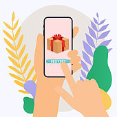 Hand holding mobile smart phone with delivery app. Vector modern flat creative info graphics design on application.