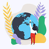Woman and planet. Social network and teamwork concept for web info graphic. Flat design modern vector illustration concept.