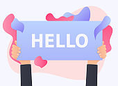 Hand holding the HELLO banner.  Vector illustration.