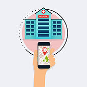 Hand holding mobile smart phone with application search hospital. Find closest on city map. Flat design style modern vector illustration concept.