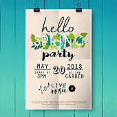 Hello spring party poster lettering on wood texture background.