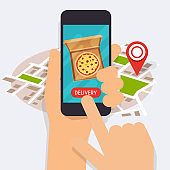 Hand holding mobile smart phone with delivery food app. Order food online. Vector modern flat creative info graphics design on application.