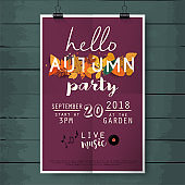 Hello autumn party poster lettering on wood texture background