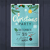 Christmas party poster lettering on wood texture background.