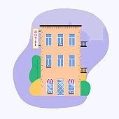 Hotel facade. Ideal for market business web publications and graphic design. Flat style vector illustration.