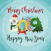 Christmas 2019 Greeting Card. Flat design modern vector illustration concept.