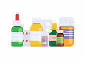 Medical pills and bottles. Medical concept. Flat design style modern vector illustration concept.