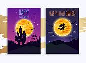 Happy halloween banner. Flat design modern vector illustration concept.