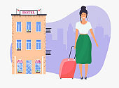 Girl with travel bag. Hotel facade on background. Travel and tourism. Flat design modern vector illustration concept.