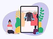 Girl make shopping online from laptop. Sale. Flat design modern vector illustration concept.