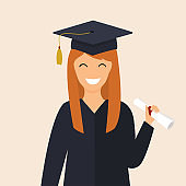 Graduate girl in the mantle keeps in hands  diploma. University students. Flat design modern vector illustration concept.