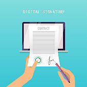 Digital signature concept. Online Contract on Screen. Flat vector illustration.