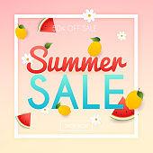 Summer Sale Banner. Poster, Flyer, Vector. Slices of watermelon and lemon on a background.