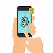 Smart phone fingerprint security access. Flat design modern vector illustration concept.