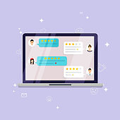 Laptop with review rating. Reviews stars with good and bad rate and text, concept of testimonials messages, notifications, feedback.