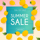 Summer Sale Banner. Poster, Flyer, Vector. Lemon on a background.