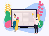 Conceptual web seo illustration. Landing page for stylish website. Teamwork project.