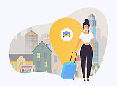 Girl with travel bag get a taxi.  Travel and tourism. Flat design modern vector illustration concept.