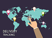 Male hand pointing on map. Delivery tracking. Vector modern flat creative info graphics design on  application.