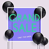 Grand Sale Banner. Can be used for website and mobile website banners, web design, posters, email and newsletter designs.